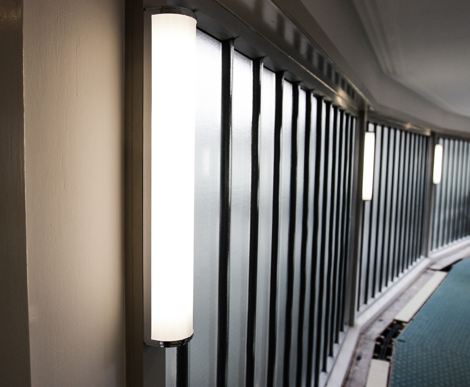 lighting that has been installed in a communal building in St James Square SW1