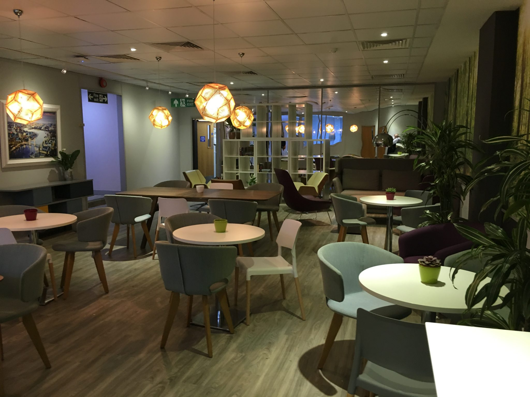 A newly refurbished breakout area with new lighting installed