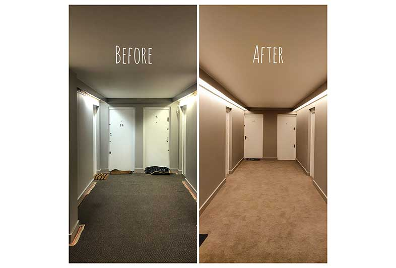 London Camden office gets new ribbon lighting before and after picture.